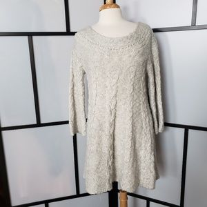 Free People oatmeal cableknit tunic sweater